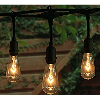 18ft outdoor weatherproof string lights with 12 hanging sockets 18ft outdoor weatherproof string lights with 12 hanging sockets 7watt st40 clear bulbs ul mozeypictures Choice Image