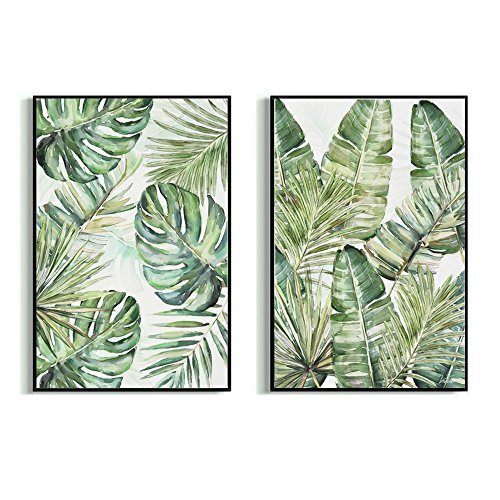 Crescent Art Large Framed Abstract Tropical Summer Green Plant Palm Tree Leaves Wall Art Painting on Canvas Prints Picture for Home Living Room Wall Decor Accent (24 x 36 inch, E&F Set)
