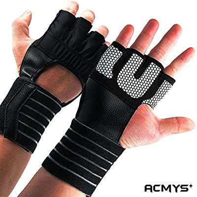 (New) Weight Lifting Gloves with Wrist Straps Breathable Gym Gloves for Extra Grip Unisex Workout Gloves with Double Stitching for Extra Support Ideal for Powerlifting, Pull Ups, Cross Training