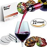 Arcs Wine Pourer Disc Set of 22 with 2 Designs – Best Drip Stop Pour Spouts – Thin Flexible and Reusable Drop Stop Disks