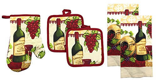 Kitchen Collection 5-Piece Kitchen Linen Set, Set Of 1 Oven Mitt, 2 Pot Holders and 2 Kitchen Towels, Value Pack Perfect For Gift, Great For Combining Fun And Color Into The Kitchen (Wine Garden)
