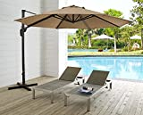 Ulax Furniture 11 Ft Patio Umbrella Outdoor Offset Hanging Umbrella with Cantilever Aluminum , 360° Rotation,Canopy with Vertical Tilt , Sunbrella Fabric,Cross Base Including Heather Beige