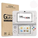 [2-Pack] Akwox for New Nintendo 3DS Tempered Glass Top LCD Screen Protector with HD Clear Crystal PET Buttom LCD Screen Protective Filter (Not for Nintendo 3DS)