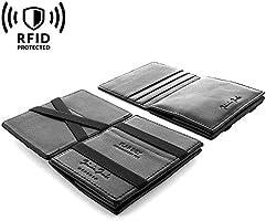 """JAIMIE JACOBS ® Magic Wallet mit Münzfach und RFID-Schutz """"Flap Boy"""" - Das Original - Magischer Geldbeutel magisches Portmonaie Brieftasche mit Kleingeldfach Geschenk Herren echtes Leder"""