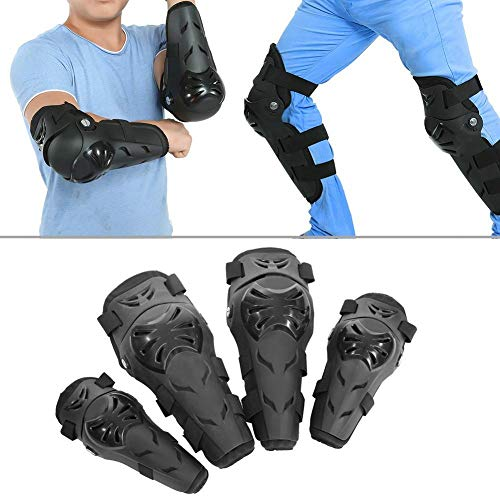 Qiilu 4 pcs Motorcycle Motocross Cycling Elbow and Knee Pads Protection Shin Guards Body Armor Set Black for Adults