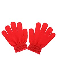 Kid's Winter Warm Magic Gloves - Children Stretchy Warm Knit Glovers (Only One, Red)
