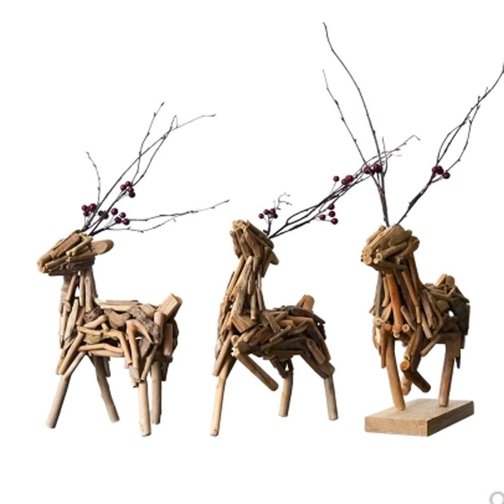 工芸品 - リビングルームの装飾 - 家の装飾 - ギフトの装飾 - 純木の鹿 - 3鹿 (設計 : 3 Deer) B07RR3R2MS  3 Deer