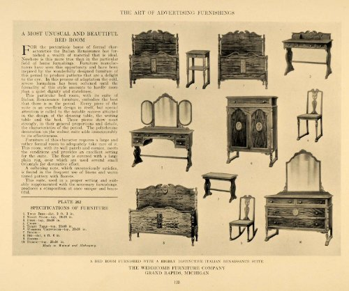 1917 Print Widdicomb Furniture Company Bedroom Wardrobe - Original Halftone Print (Vintage Company Wardrobe)