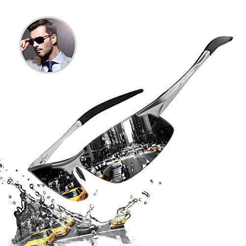 MOORAY Mens Sports Polarized Sunglasses UV Protection Fashion Sunglasses for Men Fishing Driving(Black,Silver)
