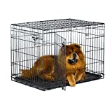 New World 36″ Double Door Folding Metal Dog Crate, Includes Leak-Proof Plastic Tray; Dog Crate Measures 36L x 23W x 25H Inches, Fits Intermediate Dog Breeds