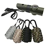 4 7 whistle - TrendBox Multifunctional Survival Paracord Kit (4 Colors) + 4x Emergency 7-in-1 Whistle with Compass Magnifier LED Flashlight Thermometer For Camping Hiking