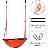Creation Core Kids Indoor Outdoor Anti Back Flip Rope Swings Seats Heavy Duty Swing(Orange)