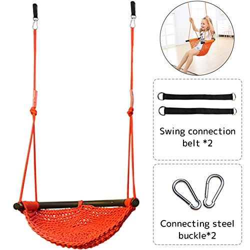 Creation Core Kids Indoor Outdoor Anti Back Flip Rope Swings Seats Heavy Duty Swing(Orange) by Creation Core