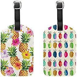 Set of 2 Rainbow Flower Pineapple Trunk Luggage Labels ID Tags Bag Suitcases Baggage