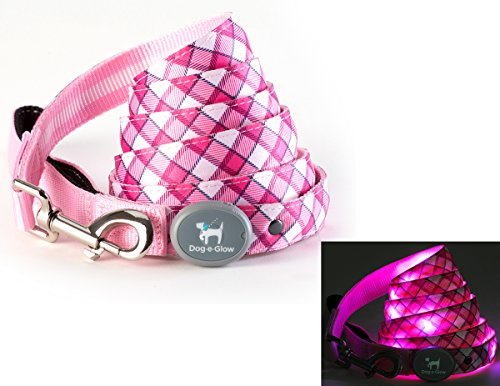 Light Up LED Dog Leash - Best Glowing Leash for Puppies, Dogs, and Pets of all Kinds for Training and Outdoor Fun - by Dog E Glow Pink Plaid, 6 feet