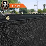 Clevr Heavy Duty 6' x 50' Wind Privacy Screen Fence, Commercial Grade Fabric Mesh with Durable Grommets, Black | 1 YEAR LIMITED WARRANTY