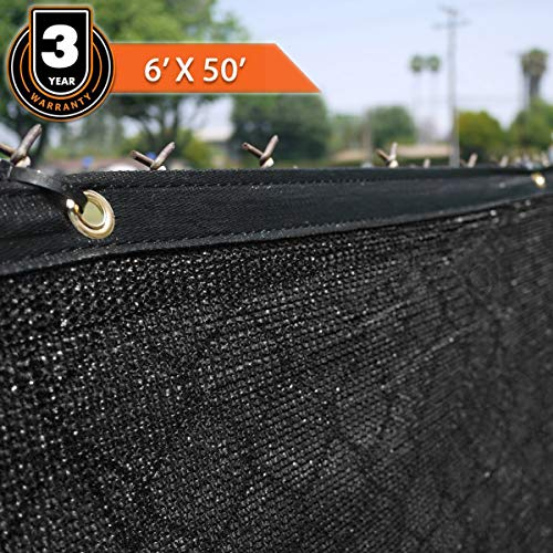 Clevr 6' x 50' Wind Privacy Screen Fence, Commercial Grade Fabric Mesh with Durable Grommets, Black | 3 Year Limited Warranty 140GSM