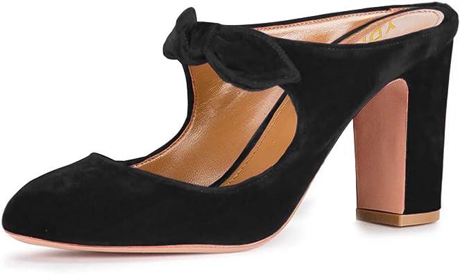 YDN Women Chunky High Heel Platform Sandals Peep Toe Slide Mules Slip On Vintage Shoes