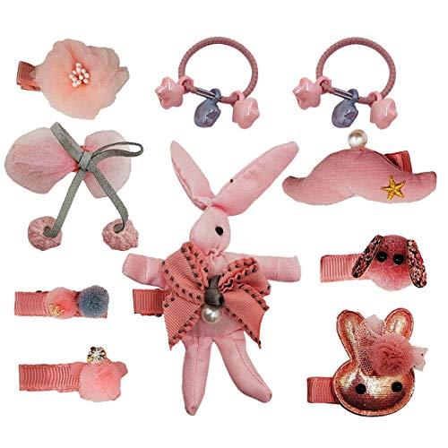 Dimple Pattern - Dimple baby girls gift set rabbit hair accessories set 10pcs hair clip + hair ties + headband