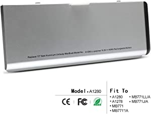 A1280 New Laptop Battery for Apple MacBook 13 inch A1280 A1278 (2008 Version) Compabiel for MB771G/A MB467LL/A MB466LL/A[Li-Polymer 6-Cell 45Wh]
