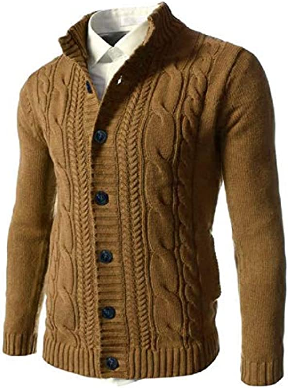 GRMO Men Button Front Autumn Open Front Winter Knitted Cardigan Sweater Coat: Odzież