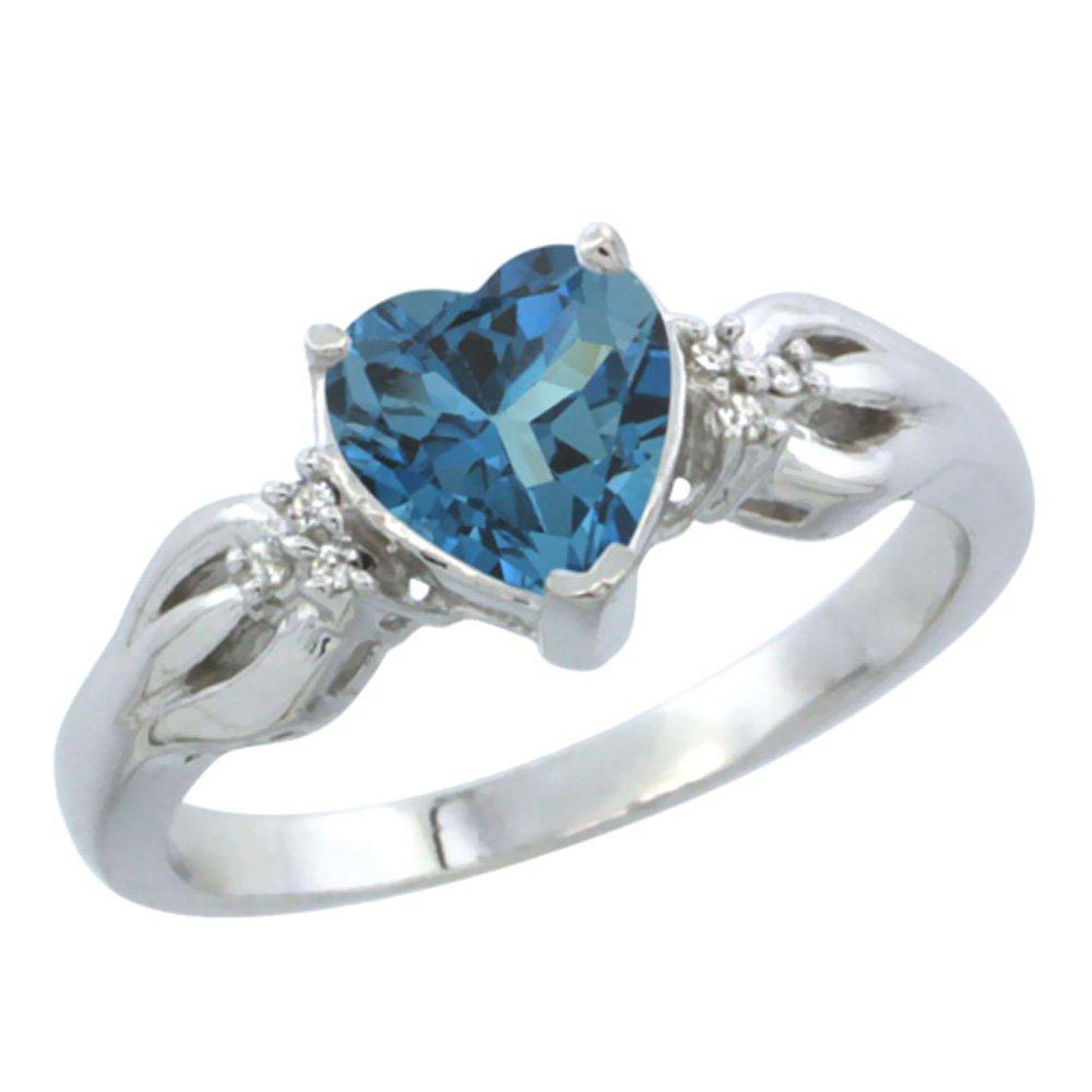 14K White Gold Natural London Blue Topaz Ring Heart-shape 7x7mm Diamond Accent, size 7.5