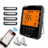 remote bbq thermometer iphone - Meat Thermometer Wireless, Uzone BBQ Thermometer Smart Cooking Thermometer with 4 Probes, Instant Read Digital Food Meat Thermometer for Smoker Grilling Oven Kitchen, Support iOS & Android