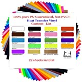 """Heat Transfer Vinyl 20 Pcs 12"""" x 10"""" Sheets for Iron On T-Shirts 18 Assorted Colors Black, Brown, White, Gold,Silver,Neon Compatible for Silhouette Cameo or Compatible for Cricut Heat Press Machine"""