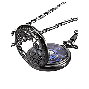 Mudder Steampunk Blue Hands Scale Mechanical Skeleton Pocket Watch