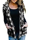 Imily Bela Womens Buffalo Hooded Plaid Corduroy Vest Flannel Winter Casual Coat Cardigan