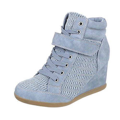 Ital-Design Sneakers High Damenschuhe Keilabsatz/Wedge Keilabsatz Reißverschluss Freizeitschuhe Hellblau 876-Y