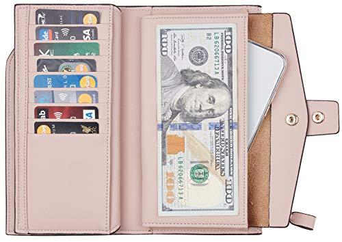 Travelambo Womens RFID Blocking Large Capacity Luxury Waxed Genuine Leather Clutch Wallet Multi Card Organizer 2