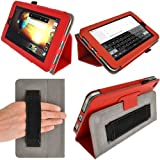 iGadgitz Premium Folio Red PU Leather Case Cover for HP Slate 7 2800 2801 With Hand Strap + Multi Angle Viewing Stand + Screen Protector