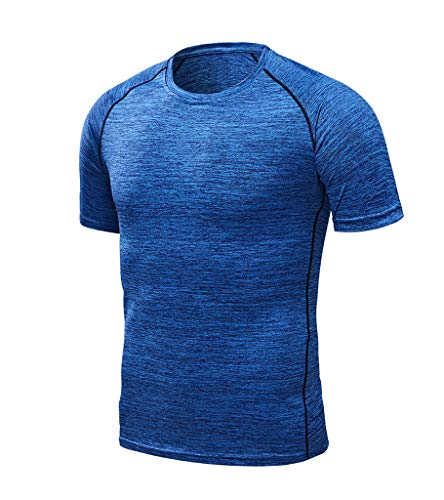Men's Gym Workout Casual T-Shirt Breathable Quick Dry Fit Athletic (Blue, US:2XL/Asia:5XL)
