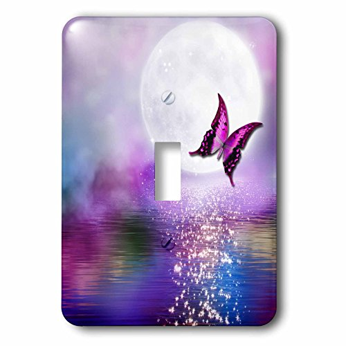 3dRose (LSP_263244_1 Single Toggle Switch Purple Lake in The Moonlight with Glitter and Butterfly