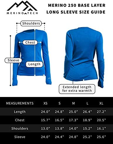 Merino.tech Merino Wool Base Layer Women 100% Merino Wool Midweight Long Sleeve Thermal Shirts + Merino Wool Hiking Socks