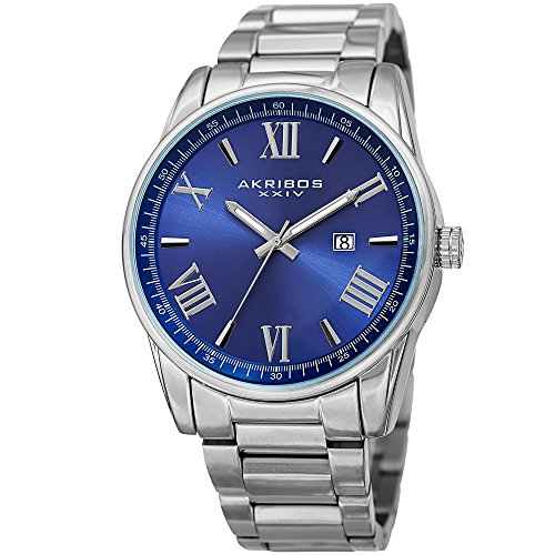 Akribos XXIV Men's Casual Classic Quartz Watch - Sunburst Dial With Roman Numeral And Date - Featuring a Stainless Steel Bracelet - AK936