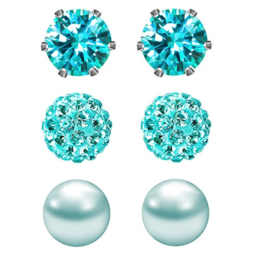 JewelrieShop Cubic Zirconia Rhinestones Crystal Ball Faux Pearl Birthstone Stud Earrings for Women Girls - Hypoallergenic Stainless Steel Earrings - 3 Pairs - Lake Blue (Dec.)