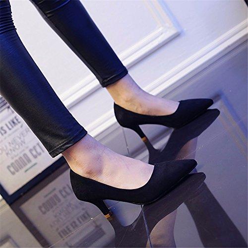 HXVU56546 Durante La Primavera Y El Otoño Nuevos De Tacón Alto De Satén Zapatos De Mujer Fina Con La Punta Del Zapato, Con Zapatos De Mujer Negro ,34,