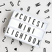My Cinema Lightbox - The Mini Cinema Lightbox, LED Changeable Quote Sign to Create Personalized Messages, with 100 Letters, Numbers, Symbols, USB or Battery Powered, A5 White