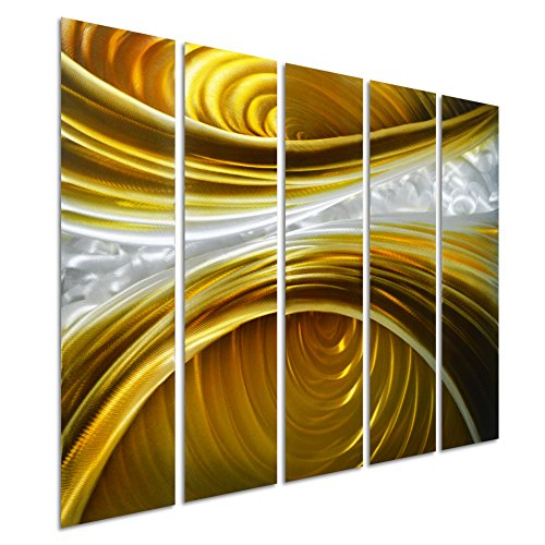 own - Abstract Metal Wall Art Painting - Brown Silver Gold Hanging Sculpture - Modern Set of 5 Small Panels Decoration of 34