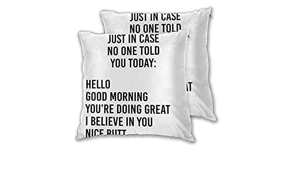 Cushion Covers Pack of 2 Cushion Covers Throw Pillow Cases Shells for Couch Sofa Home Decor Just In Case No One Told ...