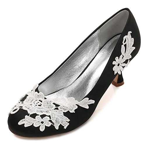 L@YC Women Wedding Shoes Office Flower Corsage Satin Close Toes Party Court Size(Custom Made evKNudNE