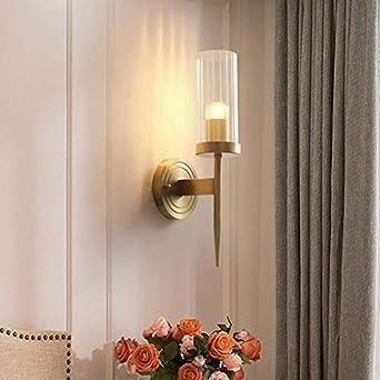 Luces de pared Moderna sala de estar minimalista Dormitorio Pasillo Escalera Lámpara Tv Fondo Lámpara de pared Lámpara de pared de cobre completo Lámpara de mesilla 12X40Cm Hermoso: Amazon.es: Iluminación