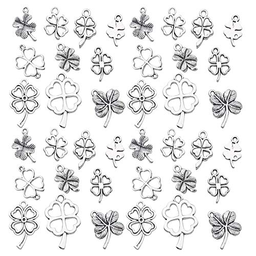 (Youdiyla 79pcs Four Leaf Clover Charms Collection, Antique Silver Tone, Mix 4 loaf chover, Lucky Clover Charms, St Patricks Irish Metal Pendant Supplies Findings for Jewelry Making (HM191))