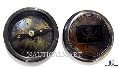 Pirates of Caribbean Jack Sparrow 2 Pocket Antique Brass Compass W/beautiful Leather Case by NAUTICALMART