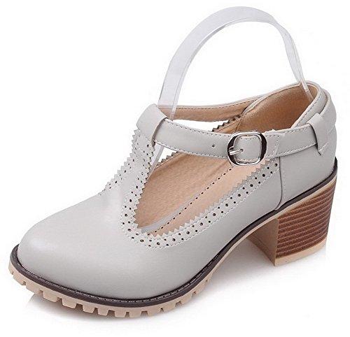 Damen Schnalle Mittler Absatz Blend-Materialien Rein Spitz Zehe Pumps Schuhe, Schwarz, 35 VogueZone009