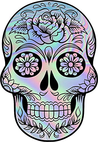 Holographic Sugar Skull Vinyl Decal Wall Laptop Bumper