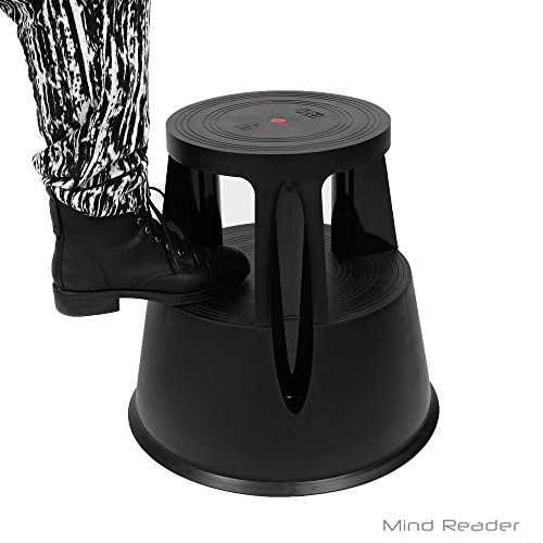 Mind Reader PLSTOOL-BLK Tall Step Stool Rolling Non-Skid with Rubber Stepstool, Steady Stable Booster, Black