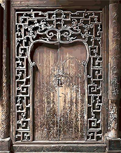 Pintura De Bricolaje Por Numeros,Puerta AntiguaPinturas Al Oleo Con Numeros,Pintado A Mano Sobre Lienzo Decoracion Del Hogar Cuadro Regalo (40X50Cm)